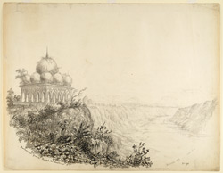 Distant view of Burhanpur from the 'Rajah ki Chattri'; the Tapti River on the right (C.P.). February 1837